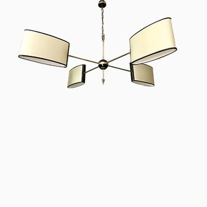 Mid-Century French Brass Chandelier from Lunel, 1950s