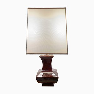 Italian Brown Glazed Pottery Table Lamp by Tommaso Barbi, 1970s