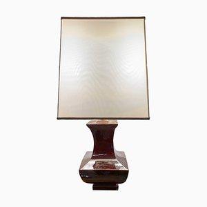 Lámpara de mesa italiana de cerámica esmaltada en marrón de Tommaso Barbi, años 70