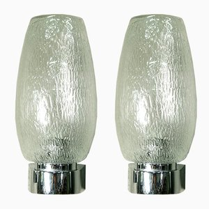 Italian Chrome & Bubble Glass Sconces, 1970s, Set of 2