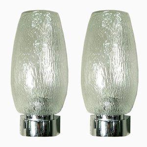 Italienische Wandlampen mit verchromtem Metallfuß & Glasschirm, 1970er, 2er Set