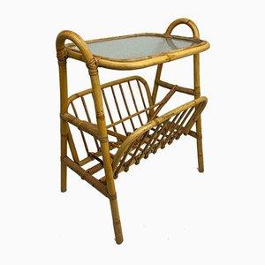 Tavolino Mid-Century in bambù e vimini con portariviste, Danimarca, anni '60