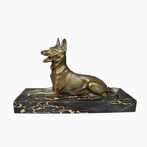 Elsässische Art Deco Hundefigur aus Bronze von M Font