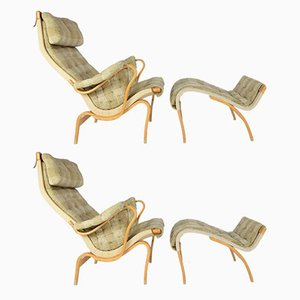 Pernilla Lounge Chairs with Ottoman by Bruno Mathsson for Dux, 1970s, Set of 2