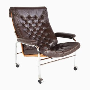 Leather and Chrome Bore Lounge Chair by Noboru Nakamura for Ikea, 1970s