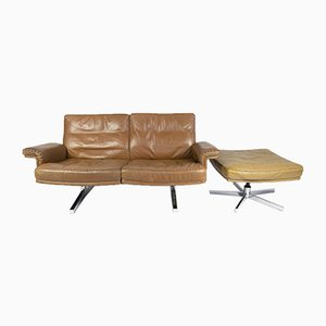 Vintage Brown Leather DS35 Two-Seat Sofa with Ottoman from De Sede, 1967