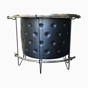 Mueble bar sueco de cuero sintético negro, años 70