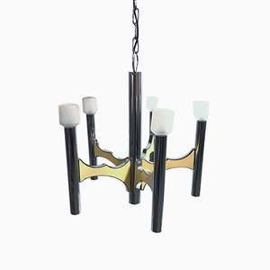 Lámpara de araña italiana de metal cromado de Gaetano Sciolari, años 70