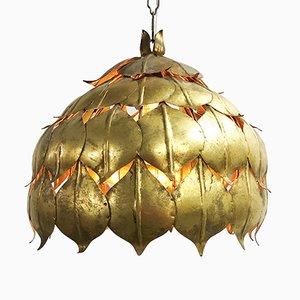 Italienische Mid-Century Deckenlampe aus vergoldetem Metall in Blätter-Optik, 1960er