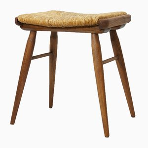 Mid-Century Beech Rustic Stool with Seagrass Seat, 1950s