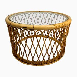 Mid-Century Bamboo & Rattan Coffee Table