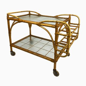 Mid-Century Swedish Bamboo & Rattan Serving Trolley from Brave Korgmöbler
