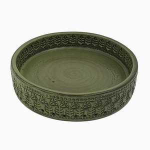 Italian Olive Green Ceramic Bowl, 1960s