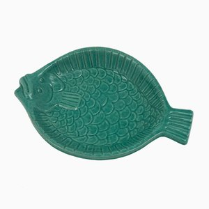 Mid-Century Swedish Ceramic Fish Tray by Krukmakaren Höganäs