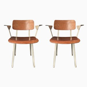 Dutch Plywood & Steel Industrial Revolt Chairs by Friso Kramer for Ahrend De Cirkel, 1960s, Set of 2