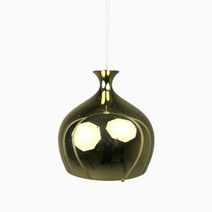 Perforated Brass Onion Pendant by Helge Zimdal for Falkenbergs Belysning, 1960s