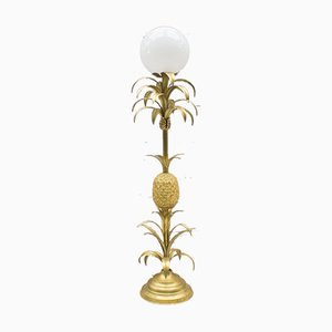 Hollywood Regency Gilded Pineapple Floor Lamp, 1970s