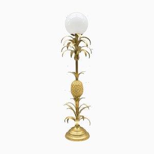 Lámpara de pie Hollywood Regency dorada en forma de piña, años 70