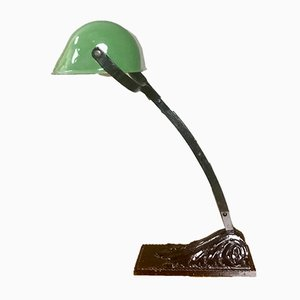 Art Deco French Cast Iron and Green Enamel Table Lamp from Niam, 1920s