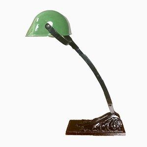 Lámpara de mesa francesa Art Déco de hierro fundido y esmalte verde de Niam, años 20