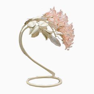 Lámpara de mesa italiana Mid-Century con flores de cristal de Murano, años 60