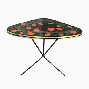 Mid-Century Iron and Plexiglas Side Table with Roses, 1950s