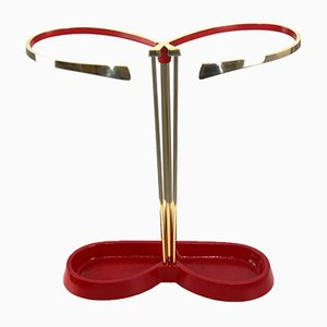 Mid-Century Aluminum and Brass Umbrella Stand, 1950s