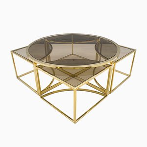 Hollywood Regency Brass & Smoked Glass Nesting Coffee Table Set, 1960s