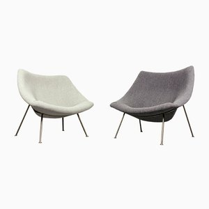Set of 1 Small and 1 Large Nickel & Wool Oyster Lounge Chairs by Pierre Paulin for Artifort, 1960s