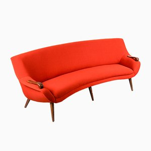 Mid-Century Dutch Teak & Wool Curved 3-Seater Sofa, 1960s