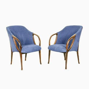 Italian Modern Beech and Fabric Armchairs, 1970s, Set of 2