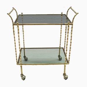 French Brass & Glass Serving Bar Cart from Maison Baguès, 1960s
