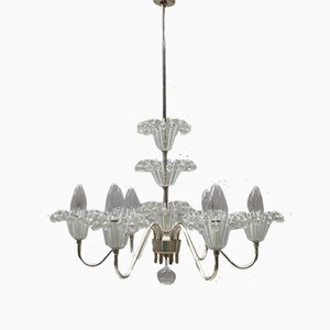 Austrian Crystal & Nickel Chandelier by Emil Stejnar for Rupert Nikoll, 1960s