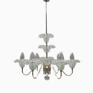 Lámpara de araña austríaca de cristal y níquel de Emil Stejnar para Rupert Nikoll, años 60