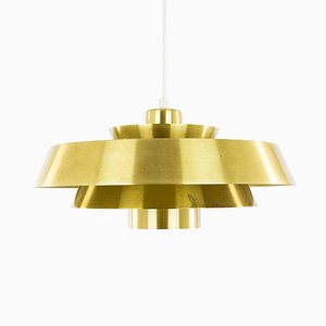Danish Brass Nova Pendant by Johannes Hammerborg for Fog & Mørup, 1970s