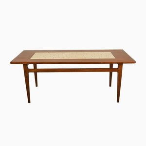 Mid-Century Danish Ceramic & Wood Coffee Table, 1960s