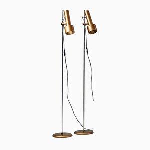Dänische Mid-Century Stehlampen aus Stahl, 1960er, 2er Set