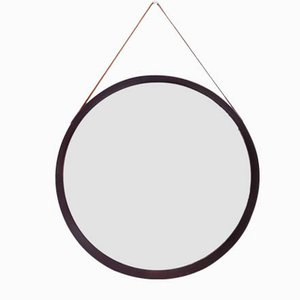 Italian Wooden and Leather Mirror