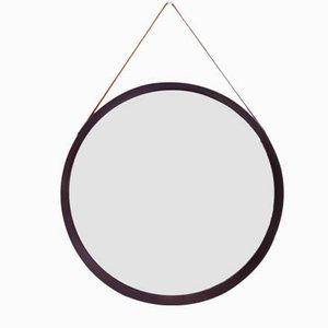 Italienischer Spiegel mit Rahmen aus Holz & Leder