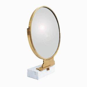 Specchio da tavolo in ottone e marmo di Gio Ponti per Fontana Arte, anni '50