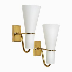 Brass and Milk Glass Sconces from ASEA, 1950s, Set of 2