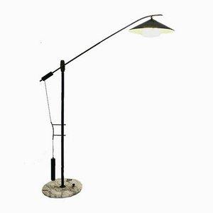 Lampada da terra in ottone e metallo di Angelo Brotto per Esperia, anni '50