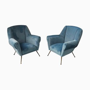 Mid-Century Italian Brass and Velvet Armchairs, 1950s, Set of 2