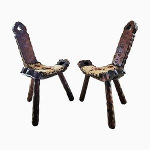 Sillas auxiliares francesas Mid-Century de madera y lana, años 60. Juego de 2