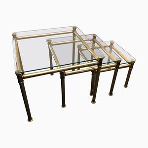 Italian Brass and Glass Nesting Tables by Tommaso Barbi, 1960s