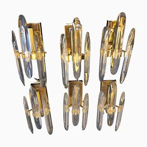 Italian Brass and Glass Sconce by Gaetano Sciolari, 1960s