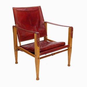Chaise Safari en Cuir Rouge par Kaare Klint pour Rud Rasmussen, Danemark, 1960s