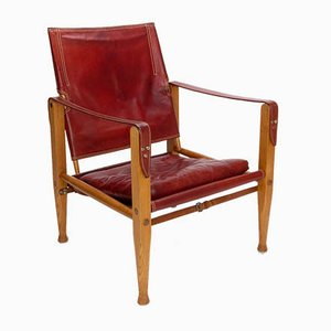 Danish Red Leather Safari Chair by Kaare Klint for Rud Rasmussen, 1960s