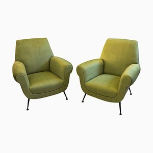Mid-Century Italian Fabric and Metal Armchairs, 1950s, Set of 2