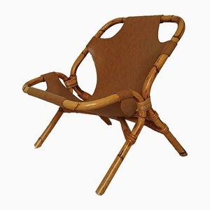 Sessel aus Kunstleder & Rattan, 1960er